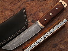 WHITE DEER Damascus Steel TANTO Point Hunting Knife Cocobolo Wood Handle 1095HC