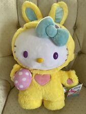 "Htf New Hello Kitty Sanrio Gemmy 20"" Easter Bunny Greeter Plush W/blue Bow"