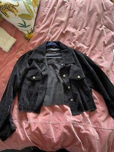 Oversized Cropped Black ValleyGirl Cord Jacket