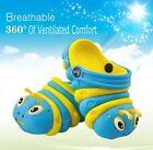 New Aqua & Yellow Caterpillar Worms EVA Retro Clog Slip Kid's Shoes