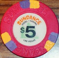 Old $5 SUNDANCE Casino Poker Chip Vintage Antique House Mold Las Vegas NV 1985