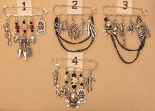 **Handcrafted Gothic Pagan Rock Punk Silver Plated 5 Charm Kilt Pin Brooch**