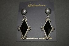 NEW NATIVE AMERICAN OYNX & STERLING SILVER DIAMOND EARRINGS BY YELLOWHORSE Onyx