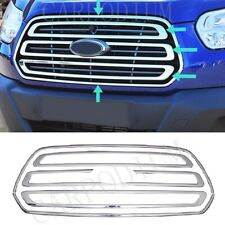 Chrome Front Grill 3pcs & Outer Trim 2pcs For FORD TRANSIT MK8 from 2014 to 2019