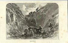 Stampa antica Veduta GOLA di EVISA Corsica 1892 Ancien Gravure Old Print