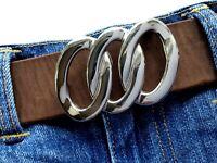 Gürtelschnalle Ringe buckle silber poliert Wechselschnalle 4cm verchromt Ring