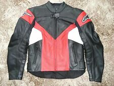 LADIES STELLA ALPINESTARS US4 EU40 LEATHER MOTORCYCLE JACKET RED BLACK WHITE
