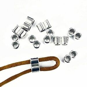 30 x Silver CCB Double Holes Slider Spacer Beads Fit 4mm Round Leather Cord CB1