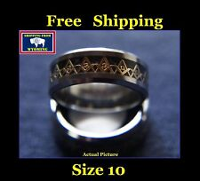 Masonic Freemasonic Black, Silver & Gold Ring, Tungsten Steel - Size 10