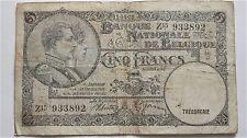 1938 WW2 ERA BELGIUM BANKNOTE 5 FRANCS GOOD CONDITION