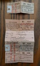 Lot of 2 New Hampshire 1951 Resident Hunting & Fishing Licenses No.8594 & 8571