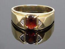 Vintage Designer 1CT Garnet & Diamond 10K Yellow Gold Men's Ring Size 9.75, 4.2g