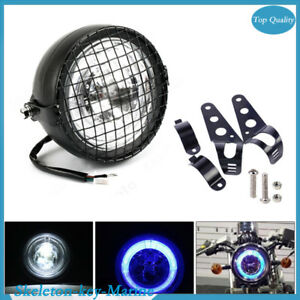 """6.5"""" Inch Motorcycle LED Headlight Grill Side Mount Cover W/ Bracket Cafe Racer"""