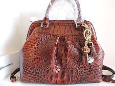Brahmin Bristol Satchel Pecan Croc Emb Leather Doctor Bag + Tassel Ring NWT