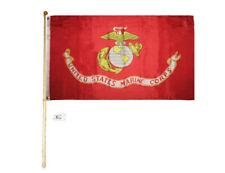 5' Wood Flag Pole Kit Bracket With 3x5 United States Marine Corps Ega Usmc Flag