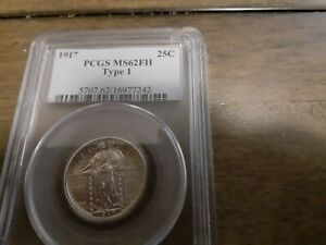 1917 PCGS MS62FH Type 1 Standing Liberty Silver Quarter