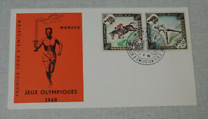 1960 1st day cover Olympic games Torch relay Monaco stamps
