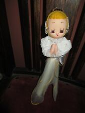 Vintage~Christmas Angel Ornament~Japan~White Tulle Net~Gold Stockingnet Head