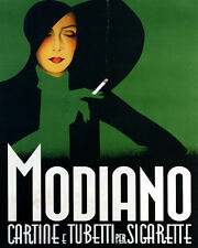 MODIANO CIGARETTES FASHION LADY BIG HAT ITALY 8X10 VINTAGE POSTER REPRO FREE S/H