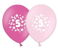 """number 5 - stars -  12""""  Pink Assortment Latex Balloons pack of 6"""