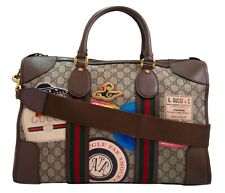 GUCCI Leather Courrier GG Supreme Duffle Bag