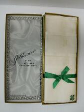 Vtg Set 3 Brooklyn Goldenweve Fine Pure Irish Linen Handkerchiefs Initial J NIB