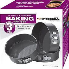 3pc Non-Stick Baking Springform Round Cake Tin Tray Pan Set Kit Spring Loaded