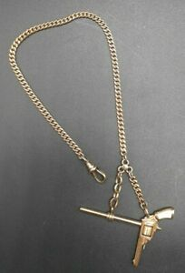 Vintage Gold Filled Pocket Watch Fob With Pearl Handled Revolver Charm