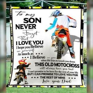 Motocross Dad To My Son Never Forget That I Love You Quilt, Fleece Blanket