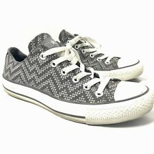 Converse Sneakers Shoes Low Top Chevron Check Plus Grey White Women's 8
