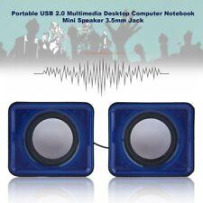 A Pair USB Multimedia Mini Speaker 3.5mm Jack for Computer Desktop PC Laptop FD