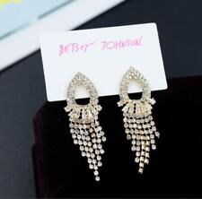 Tassel Earrings Fashion Jewelry Gift New Betsey Johnson Rare Rhinestone Crystal