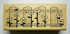 Fence with Flowers 1-1/2 x 4 Inches  Wood-mounted  Rubber Stamp  Anitas New