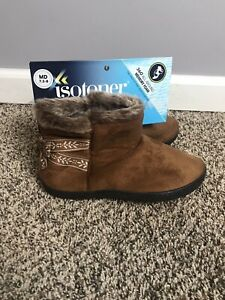 isotoner Medium 7.5-8 Nora Microsuede Boot Slippers Brown Fleece Womens New