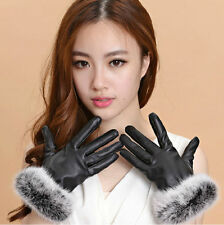 Faux Leather Winter Gloves & Mittens for Women