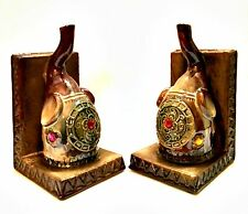Elephant Bookends Porcelain Jeweled India Pachyderms Drip Glazed 7.5 inches