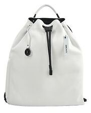 NWT DKNY Donna Karan White Ego Leather Black Lamb Trim Sport Drawstring Backpack