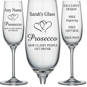 Personalised Engraved Champagne Flute glass Prosecco Gift (CLASSY DRUNK) .