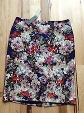 NEW $119 TALBOTS Purple Mirrored Bouquet,Floral Pencil Skirt Sz 10