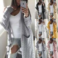 Women's Long Sleeve Pocket Sweater Coats Ladies Work Jackets Outwear Cardigan