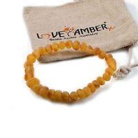 Adult Bees Knees Genuine Raw Honey Baltic Amber Stretch Bracelet Love Amber x UK