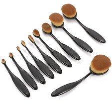 10Pcs Oval Cream Puff Makeup Brushes Cosmetic Toothbrush Shaped Power Foundation