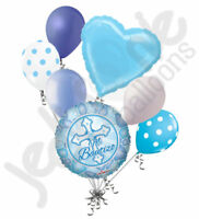 7 pc Azul Mi Bautizo Balloon Bouquet Party Decoration Blue Boy Baptism Cross