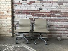 HERMAN MILLER EAMES ALUMINUM GROUP MANAGEMENT CHAIR GREIGE LEATHER (2 Avail)