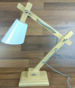Wooden Anglepoise Home Decor Style Desk Reading Lamp Light Industrial