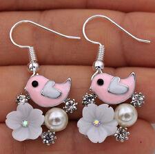 925 Silver Plated Hook - 1.4'' Pink Bird Flower Pearl Crystal Women Earrings#17
