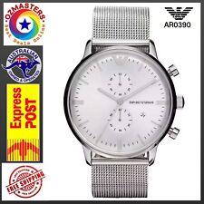 New Emporio Armani AR0390 Classic Milanese Mesh Bracelet Chronograph Watch