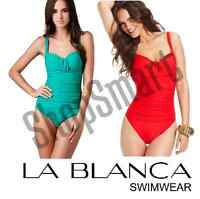 NEW La Blanca Women's Shirr And Now OTS Sweetheart Cup One Piece Swimsuit