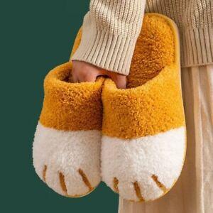 Women Cute Winter Warm House Fur Slippers Bedroom Shoes Slides Fluffy Slip On