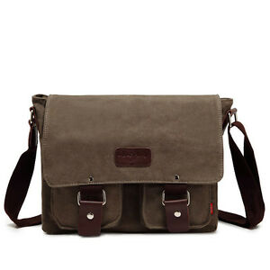 Mens Canvas bag Shoulder Messenger Travel Satchel Bags Cross body School laptop